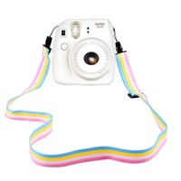 Elvam Camera Neck Shoulder Strap Belt in Rainbow Blue Yellow White Pink Color for Digital Camera / Fujifilm Instax Camera Mini 8 / Mini 8+ / Mini 7s / Mini 25 / Mini 50s / Mini 90