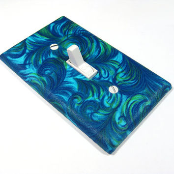 Royal Blue Peacock Feathers Light Switch Cover Decorative Switchplate Cover Teal Turquoise