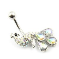 316L Surgical Stainless Steel Peacock Crystal Pink Rhinestone Navel Belly Bar Ring Barbell Body Jewelry