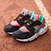 Best Online Sale Nike Air Huarache 1 Rainbow Ultra Breathe Men Women Hurache Black/Green/White Running Sport Casual Shoes Sneakers - 201
