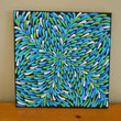 Aqua Turquoise Lime Green Painting Aboriginal Inspired by Acires