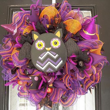Deluxe Halloween Wreath with Owl, Halloween Door Hanger, Decoration, Only 2 left