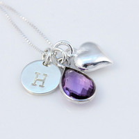 Amethyst neckace,  February birthstone, sterling silver, tiny stamped monogram initial, heart, teardrop amethyst, February birthday gift