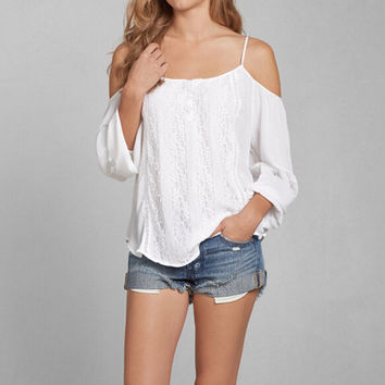 Summer White Lace Insert Cold Shoulder Chiffon Shirt Top for Women +Necklace