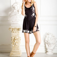 Black Open Back Sleeveless Floral Design Romper