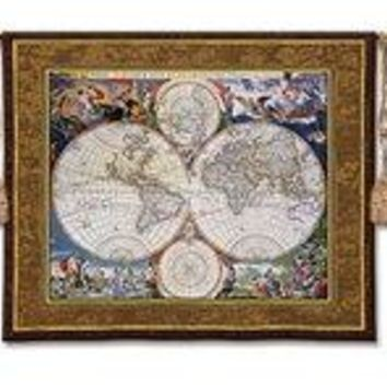 """World Map - 52""""x42"""" Tapestry Wall Hanging"""