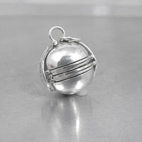 Sterling Photo Ball Locket Pendant, Sphere Globe Six Picture Accordian Fold Out, FAS Signed Sterling Jewelry, 3/4""