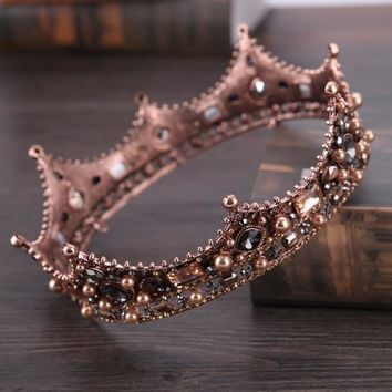 Baroque Crystal Crowns Tiara King Queen Cosplay