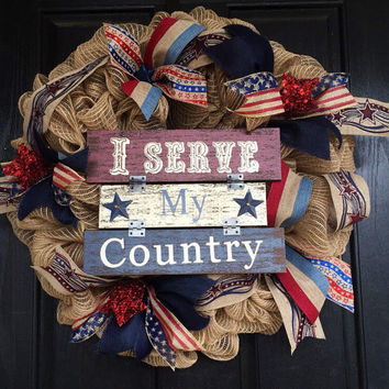 Americana red, white, and blue burlap wreath, Americana burlap wreath, American mesh wreath, Fourth of July wreath, Memorial Day wreath