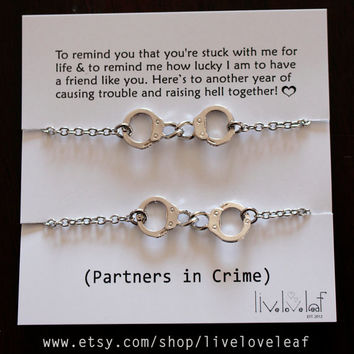 Partners in Crime matching Rhodium plated Handcuffs Bracelets - Set of two Silver Handcuffs handcuff charm bracelet,  BFF jewelry gift idea
