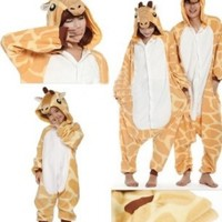 Zicac Costume Giraffe Animal Children and Adult Pajamas Pyjamas Sleepwear Nightclothes Loungewear Cosplay(160-170cm):Amazon:Clothing