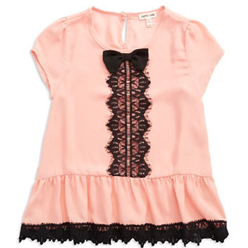 Sophia + Zeke Girls 7-16 Lace Peplum Top