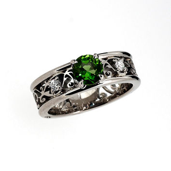 Wide filigree ring with green tourmaline and diamonds, tourmaline engagement ring, diamond filigree, unique, white gold, yellow gold, green