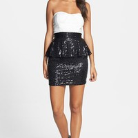 Junior Women's Love, Nickie Lew Colorblock Sequin Strapless Peplum Dress