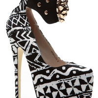 Black White Tribal Empire Platform Pumps