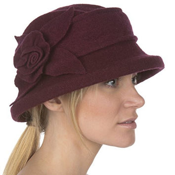 Sakkas 105WSS Harlow Rose Wool Hat - Wine Red - One Size