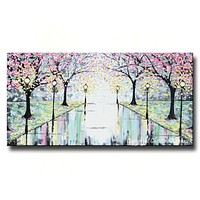 """GICLEE PRINT Abstract Art Painting Pink Cherry Trees Canvas Prints Grey Yellow White-sizes up to 60"""""""
