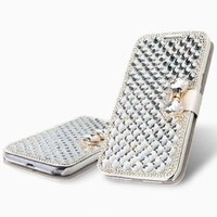 Vandot 3D Rhinestone Crystal Leather Wallet Case for Apple iPhone 6 Plus (5.5-Inch) - White