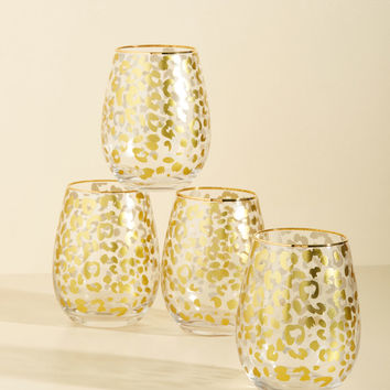 On a Wild Gris Chase Wine Glass Set | Mod Retro Vintage Kitchen | ModCloth.com