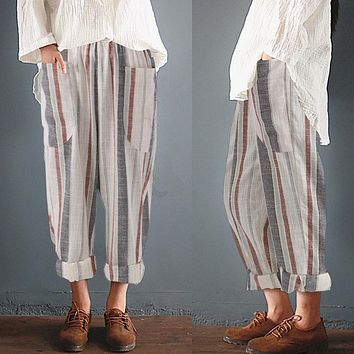 Cotton Linen Striped High Elastic Waist Pants