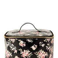 FOREVER 21 Floral Travel Makeup Case Black/Pink One