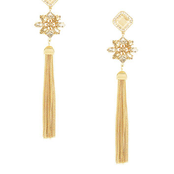 BCBGMAXAZRIA Stone Tassel Drop Earrings