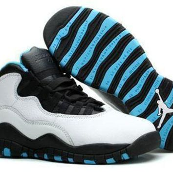 New Air Jordan 10 Retro Kids Shoes White Black Blue