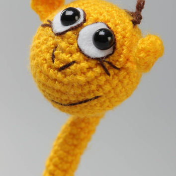 Handmade collectible crochet soft toy yellow giraffe with frame inside Cute gift
