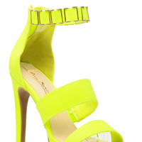 Lime Faux Nubuck Gold Cuff Ankle Strap Heels