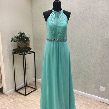 New Design Long Prom Dresses 2018 High Neck Sleeveless Floor Length Beaded Belt Chiffon Evening Gowns Party Dresses Vestidos