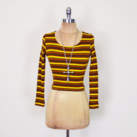 Vintage 90s Yellow & Brown Stripe Top Stripe Shirt Crop Top Stretch Top Rib Knit Long Sleeve 90s Top 90s Grunge Top Grunge Shirt Women XS S