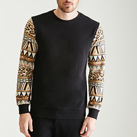 Tribal Print-Sleeved Sweatshirt