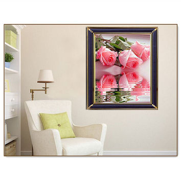 3D Diy Diamond Painting Cross Stitch Set Colorful Pink Rose Picture Of Rhinestone Diamond Embroidery Mosaic For Wall Sticker