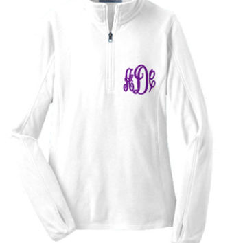 Free Shipping Women's White MONOGRAMMED Half Zip Micro Fleece Jacket Available in sizes XS-4XL