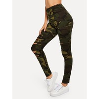 Ripped Skinny Camo Pants