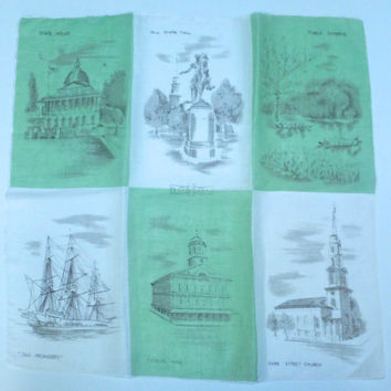 Boston Souvenir Hankie - Tourist Hanky, Travel Handkerchief, Massachusetts, Mid Century, City Highlights and Monuments, Cotton Lawn