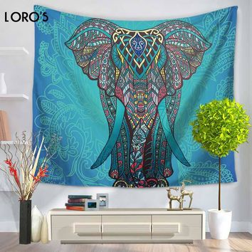 LORO'S Bedding Outlet Blue Elephant Wall Tapestry Head Hippy Bohemian Wall Hanging Tapestry Home Room Decor Throw Bedspread