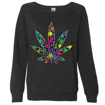 Neon Party Pot Leaf Ladies Lightweight Crewneck