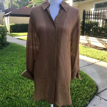 COLDWATER CREEK Women's PLUS SIZE Tawny Brown Button Up Blouse Shirt Top, Size 2X