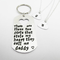 These Girls Stole My Heart They Call Me Daddy Keychain and Necklaces, Key Ring, Key Fob, Handstamped Father's Day Gift, 2 daughters two xmas