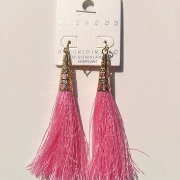 Thread Tassel Earrings - Pink