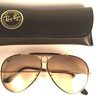 VINTAGE RAY BAN PRECIOUS METALS SHOOTER BLACK BROWN B&L USA 1980'S SUNGLASSES