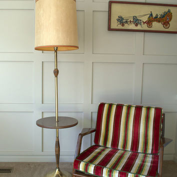 Mid Century Modern Floor Lamp, Vintage Floor Lamp with Table, Scandinavian Floor Lamp, 1970s End Table with Lamp