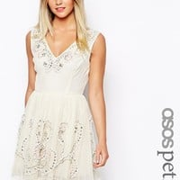 ASOS PETITE Exclusive Heavy Embellishment Prom Dress - Cream