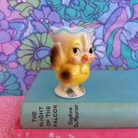 Kitsch, bird figurine egg cup/ vase! Cute, vintage china chick Easter egg cup souvenir! Adorable retro birdie!