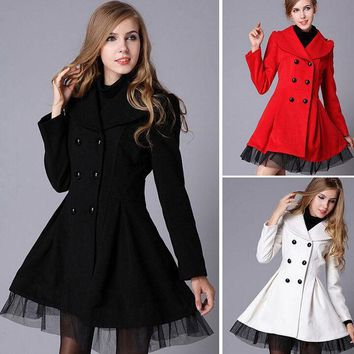 ESBONG Jacket Double Breasted Women's Fashion Dress Winter Lace Windbreaker [9584857290]