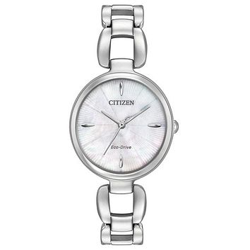 Citizen L Womens Eco-Drive Watch - MOP Dial - Stainless Steel - Bangle Bracelet