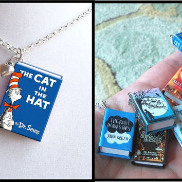 The Cat In The Hat with Tiny Heart Charm - Micro Mini Book Necklace