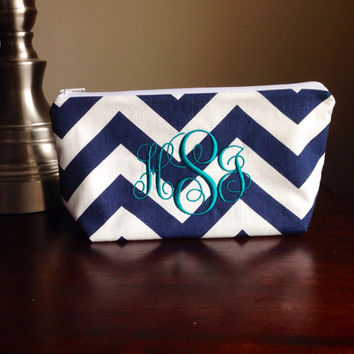 Monogrammed Make up, cosmetic bag, zipper pouch, bridesmaid clutch - personalized navy chevron zig zag