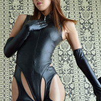 Sexy Women PVC Catsuit Fetish Lingerie Faux Leather Bodysuit Black Stockings Erotic Open Hips Jumpsuits Pole Dance Costume